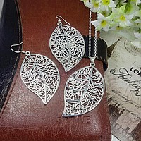 New African Beads Jewelry Sets Silver Plated Leaf Jewelry Set Women Silver Chain Necklace Earrings Jewelry Set