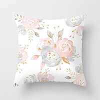 Roses Gold Glitter Pink by Nature Magick Throw Pillow by naturemagick