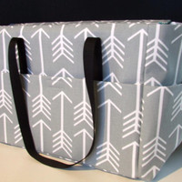Tote/Diaper bag in Grey and White Arrow Print Fabric  (Monogramming additional charge)