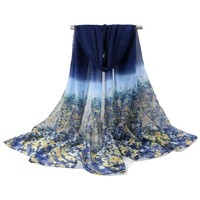 new shivering flower fashion brand scarf women spring and winter thin long scarves shawl cotton voile pashmina 180 * 95 CM