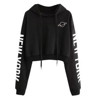 Crop Top Hoddies Womens Autumn Long Sleeve Hoodie Sweatshirt Letters Hooded Pullover Moletom Feminino Dropshipping #F#40AT24