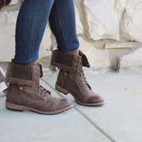 POSY - BROWN Distressed Closed Toe Knit Fold Over Combat Boot