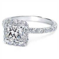 Engagement Ring - Princess Diamond Halo Engagement Ring Diamond Band in 14K White Gold - ES871PRWG