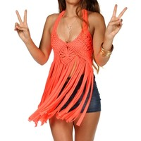 Neon Coral Fringe Tie Back Top