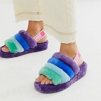 Hight Quality UGG Fashion Slippers Warm and fluffy New Women's Fashion Fluff Yeah Slipper Slide