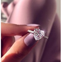 Fashion Popular Women 925 Silvery Heart Type Crystal Diamond Ring I12803-1