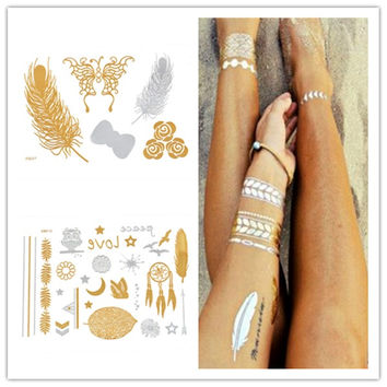 Fashion Temporary Tattoo Gold And Silver Tattoo Waterproof Environmental Body Golden Tattoo Sticker  Metallic Tattoo No.2 = 5617863937