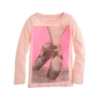 Girls' long-sleeve pointe shoes tee