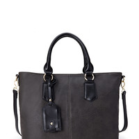 FOREVER 21 Two-Tone Faux Leather Tote Grey One