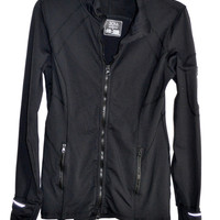 JOIA NYC Black Athletic Jacket Performance Wear MED Thumb Sleeves