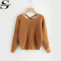 Sheinside Crisscross Ladies Sweater Long Sleeve Cut Out Loose Knitted Women Sweaters and Pullovers 2017 Winter Casual Sweater