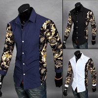 Mens Edgy Sleeve Design Dress Shirt