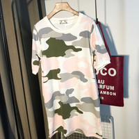 Camouflage Pattern Cuff Sleeve Loose T-Shirt