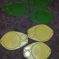 Vintage Retro 70s Set of 6 Plastic Green and Yellow Serving Trays