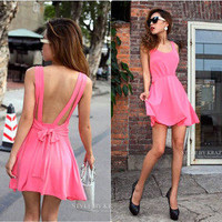 Sexy backless pure color condole of tall waist dress