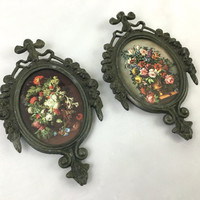 Vintage Italian Brass Frames with Colorful Flower Bouquets Small Ornate Metal Frames with Glass Romantic Victorian Floral Accents