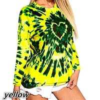 fhotwinter19 Fashion new love tie-dye printing long-sleeved T-shirt for women