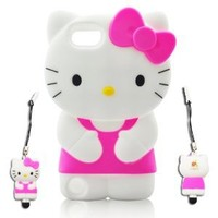 Hello kitty 3D ipod touch 5 Hot-Pink Soft Silicone Case Cover Faceplate Protector For itouch 5g 5th Generation