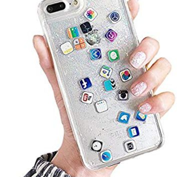 UnnFiko Liquid Glitter Phone Case for iPhone X, Hard Back Colorful Bling Quicksand with ios icon Apple APP Shine Phone Case for iPhone 10 (Sand Glitter, iPhone X)