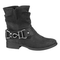 Black Sable Slouch Bootie With Buckle - Black