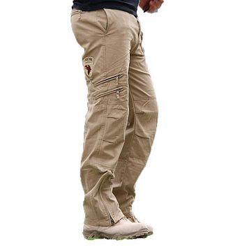 Men Loose Straight Trousers Tactical Camo Pants Trousers