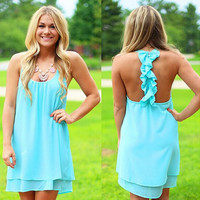 Ruffled Racerback Dress in Lake Blue
