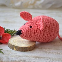 Amigurumi Crochet toy Mouse Baby rattle Stuffed Baby toy animal toys Teether organic New Baby Gift Baby Shower Gift newborn Kids toddler toy Plushie Toodler toys nursery crib toy kids room decor