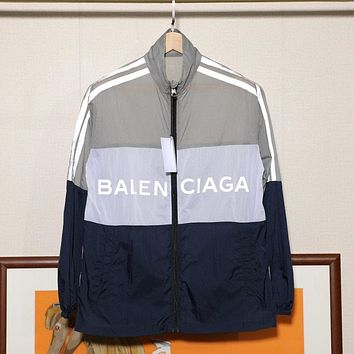 Balenciaga hot sale new couple stitching color letter coat trench coat