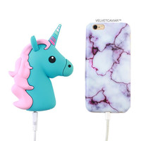 2000 mAh Portable Power Bank Phone Charger - Blue Unicorn