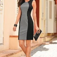 Boston Proper Houndstooth ponte sheath