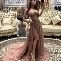 Prom Dress Fashion Blush V Neck Slit Evening Dress Prom