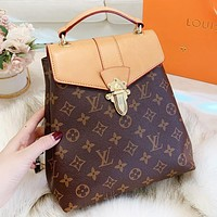 LV Louis Vuitton  Fashion New Tartan Monogram Print Leather School Bag Book Bag Handbag Backpack Bag