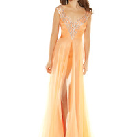 Mac Duggal 2012 Homecoming Dresses - Melon Satin & Chiffon Encrusted Deep V Off the Shoulder Long Evening Dress
