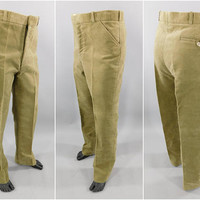ORVIS of Manchester Vermont / 100% Cotton Moleskin / Flat Front Hunting Pants / Camel Tan / Velvet Trousers /  Size 34 x 30 / Never Worn