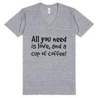 Love and Coffee!-Unisex Athletic Grey T-Shirt