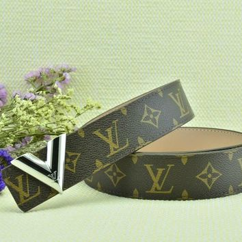Cheap Louis Vuitton Woman Men Fashion Smooth Buckle Belt Leather Belt for sale q_2291738334_170