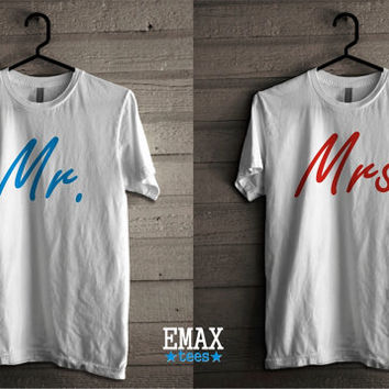 Mr Mrs Tshirts Set, Matching Tees for Couples, Unisex Tees, 100% Cotton Matching T-shirts Set