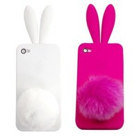 Case Star ® White and Hot Pink Rabbit TPU Case Cover with Ears and Tail for iPhone 4 4S + Case Star Cellphone Bag