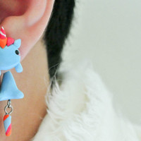 Cute My Little Pony Unicorn Clinging Handmade Polymer Clay Earrings, Light Weight, Little Pony, Unicorn, Handmade, unique,gift, Christmas