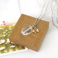 Transparent Crystal Quartz Necklace with Small Bee Charm, Clear Crystal Gemstone Jewelry, Gift Idea