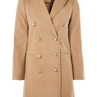 Topshop Nina Faux Fur Collar Double Breasted Coat | Nordstrom