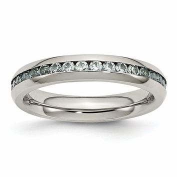 Stainless Steel 4mm March Light Blue CZ Ring