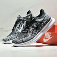 NIKE BETTER WORLD Fashion New Black White Hook Knit Running Women Men Shoes