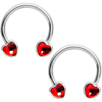 "14 Gauge 9/16"" Red Gem Heart Horseshoe Nipple Ring Set"