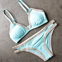 bikini lab - mix & match weaving on a jet plane triangle bikini (top only) - blue