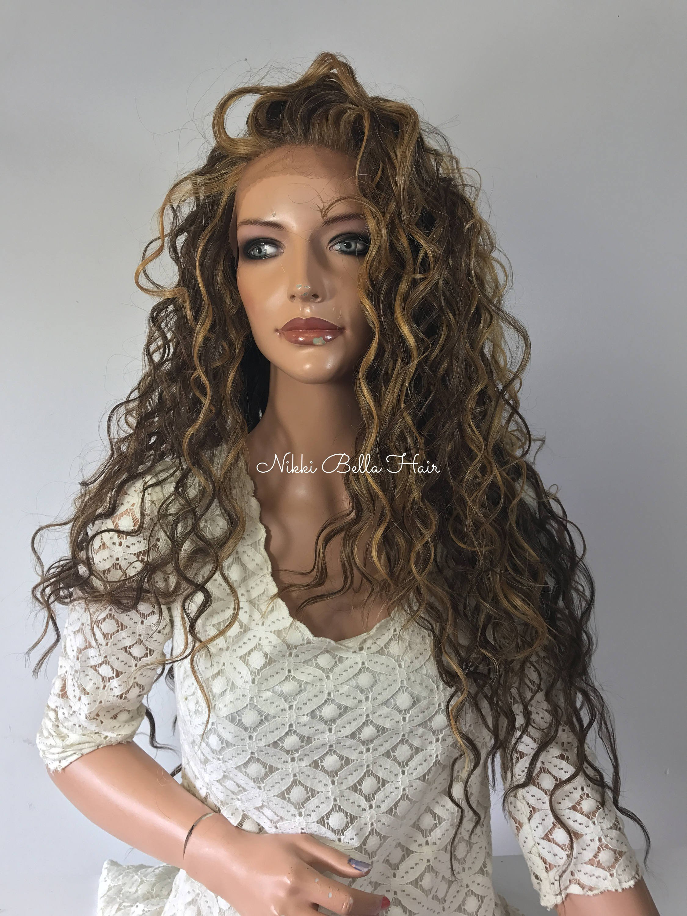 Image of Mixed Balayage Blond Waves l Human Hair Blend Multi Parting Lace Front Wig -Cara