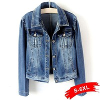 Trendy Plus Size White Blue Bomber Short Denim Jackets 4XL 5XL Streetwear Stretch Jeans Jacket Casual Jaqueta Jeans Coat Female Tops AT_94_13
