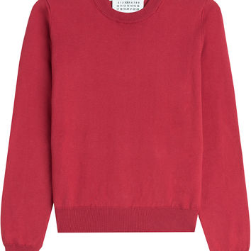 Maison Margiela - Cotton Pullover with Leather Elbow Patches