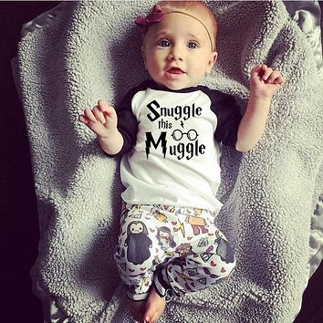 Newborn Baby Boys Girl Clothes 2018 New Summer Snuggle This Muggler T-Shirt +Harri Potter Pants Infant Toddle kids Outfit Set