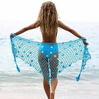 New swimsuit beach towel sunscreen ladies European and American sexy fishing net bright dual-use triangle scarf shawl blue